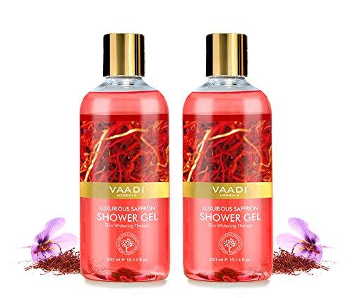 Shower Gel – Sulfate-Free – Herbal Body Wash both for Men and Women – 300 ml 10.14 fl oz – Vaadi Herbals Luxurious Saffron 2 Bottles