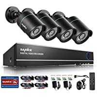 SANNCE 4-Channel HD 1080N Video Security System DVR and (4) 720P Weatherproof Bullet Cameras with IR Night Vision LEDs- NO HDD