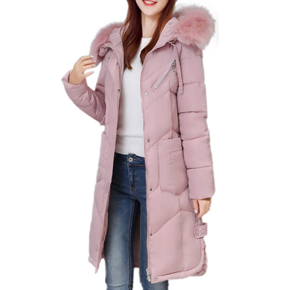Sonnena Mujer Slim plumón de pato nieve invierno cálido abrigo largo de Down negro rosa S