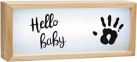 Baby Art My Baby Lightbox Caja luminosa LED con Huella mano bebé, lámpara LED personalizable para dormitorio, base de madera con luz blanca: Amazon.es: Bebé