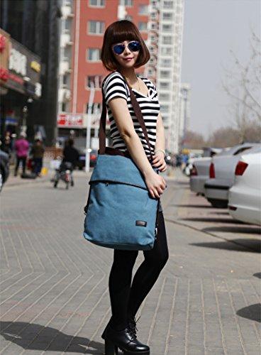 MOLLYGAN Multi-purpose Canvas Shoulder Bag Backpack School Bag Khaki by MOLLYGAN (Image #7)