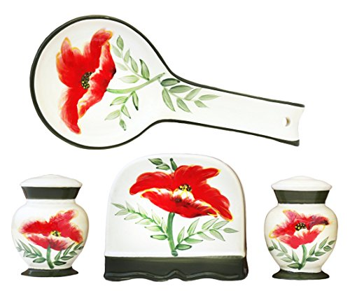 - Tuscany Floral Poppy Hand Painted Kitchen 4pc Stove Top Set, 84725/28 by ACK