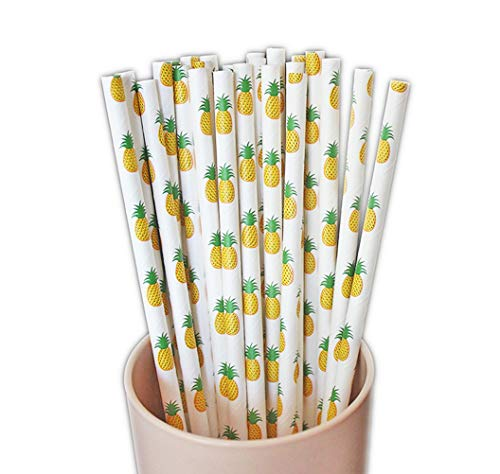 50-Pack Biodegradable Paper Drinking Straws for Party Supplies Bridal/Baby Shower Wedding Decorations, Bulk Paper Straws for Juices, Shakes, Smoothies, Pineapple Theme ()