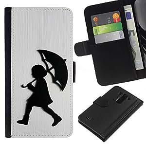 All Phone Most Case / Oferta Especial Cáscara Funda de cuero Monedero Cubierta de proteccion Caso / Wallet Case for LG G3 // Girl Rain White Brushed Metal