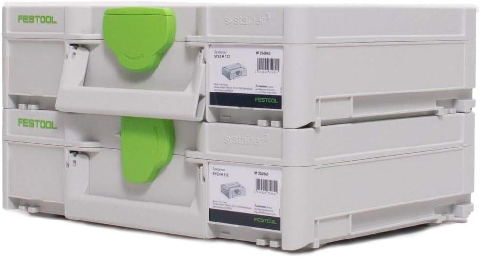 Festool Systainer SYS3 M 112 Lot de 2 coffrets /à outils modulables 7,7 l 396 x 296 x 112 mm