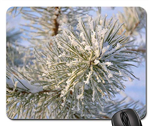 Mouse Pad - Tree Pine Winter Needles Snowflakes Crystals ()