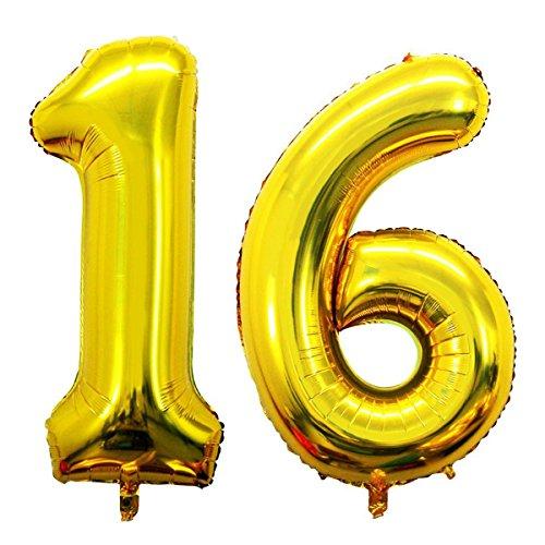 Ouinne Globo 16 Años, 40 Pulgadas Globo del Cumpleaños Número 16 Helio Globos para La Decoración Boda Aniversario (Oro)