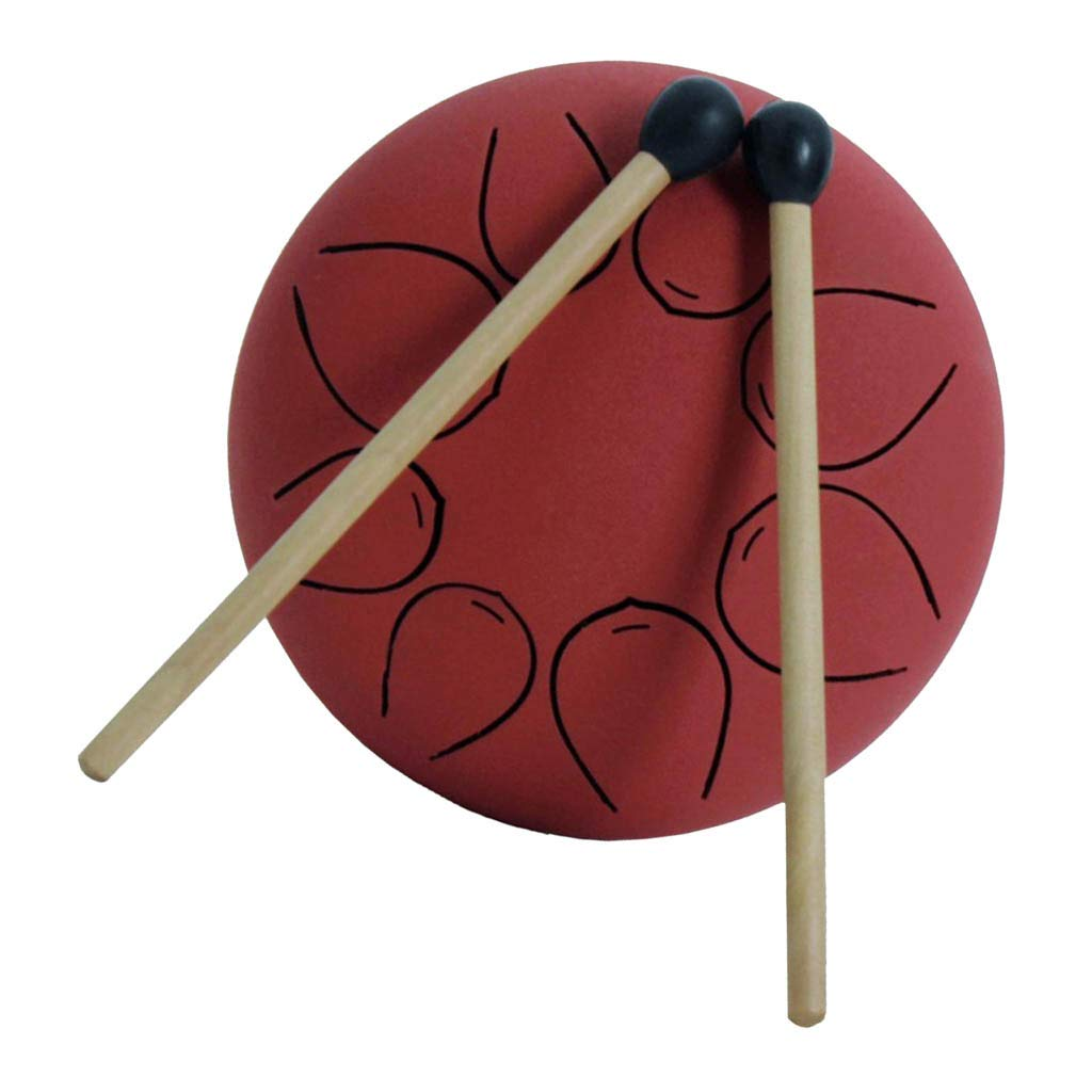CUTICATE Professional 5inch Handpan Steel Tongue Drum with Mallet Travel Bag for Music Lovers - Red, as described