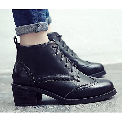 Black US6   EU36   UK4   CN36 Black US6   EU36   UK4   CN36 HSXZ Women's shoes Synthetic Microfiber PU Spring Fall Comfort Combat Boots Boots Chunky Heel Booties Ankle Boots for Casual Black