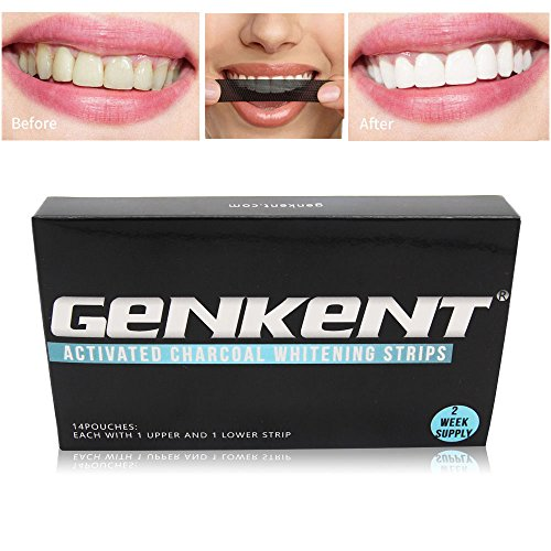 Genkent Bamboo Charcoal Teeth Whitening Strips Paper Shade Guide Makes Bright Smile14 Pouches(28 Strips)