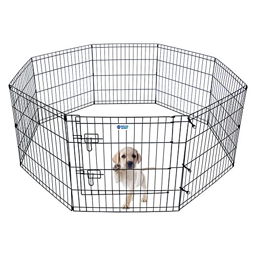 HACHI SHOP Pet Playpen Foldable Exercise Pen for Dogs Cats Rabbits - 24 inches (Cage Octagon Shape)