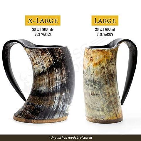 Norse Tradesman Genuine Viking Drinking Horn Mug – 100% Authentic Beer Horn Tankard w/Rosewood Bottom & Ring Engravings…