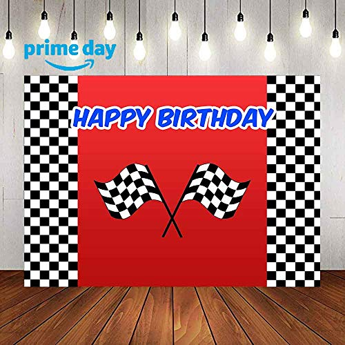 LUCKSTY Car Racing Themed Birthday Backdrops for Photography 9x6FT Racing Flag Black White Grid Red Photo Backgrounds Birthday Party Banner Photo Booth Props LULX024