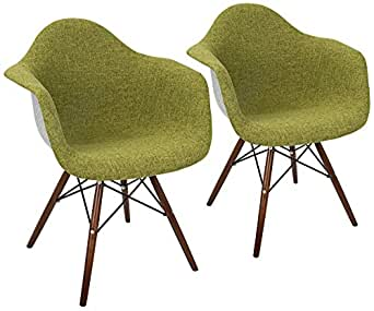 Neo Flair Duo Green and Gray Fabric Dining Chair Set of 2