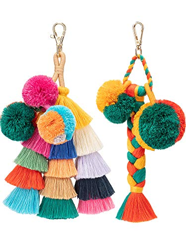 Jetec 2 Pieces Colorful Tassel Charm Keychain Handbags Bag Pendant Key Ring Pom Tassels Key Chain (Multicolor C)