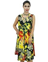 Rayon Casual Dress Batik Print Beach Wear Summer Sundress Gift For Women