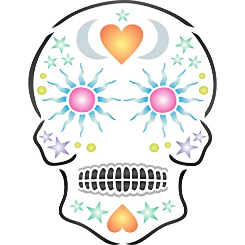 "(Sugar Skull Stencil - (size 6.5""w x 8.5""h) Reusable Wall Stencils for Painting - Halloween Day of the Dead Decor Ideas - Use on Walls, Floors, Fabrics, Glass, Wood, and)"