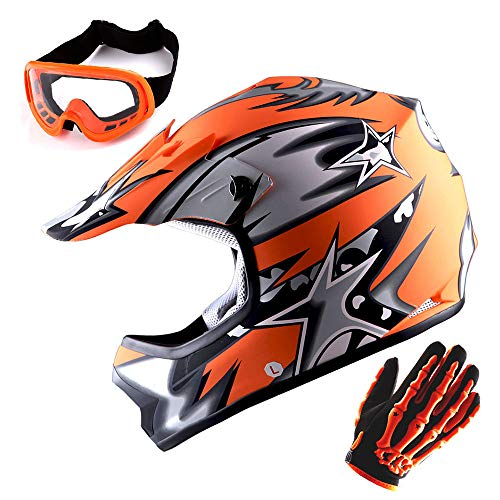 Helmet BMX MX ATV Dirt Bike Helmet Matt Star Orange + Goggles + Skeleton Orange Glove Bundle ()