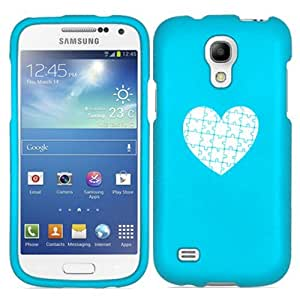 Samsung Galaxy Mega 6.3 i9200 Snap On 2 Piece Rubber Hard Case Cover Heart Puzzle Autism (Light Blue)