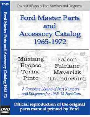 FORD MASTER PARTS & ACESSORY MANUAL CD - Base, Mach 1, GT, GT Deluxe, Deluxe Coupe, Boss, Cobra, Shelby, Sprint, Pro Touring, Pony, C-Code J-Code K-Code Convertible Hardtop Fastback, Coupe 1965 1966 1967 1968 1969 1970 1971 1972 1972 Ford Station Wagon