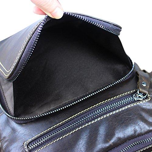 Genda 2Archer Bolso de Cuero del Mensajero del Bolso del Bolso de Hombro de la Honda del Cuero de los Hombres (22cm * 6cm * 27cm) (Café) Café