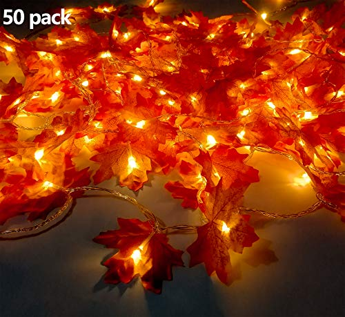 Maple Leaves String Lights, 25Ft 50pcs Warm White LED Fall Garlands String Lights, Battery Operated LED String Lights For Thanksgiving, Christmas, Party, Fall Events, Garden, Bedroom, Wedding Decor