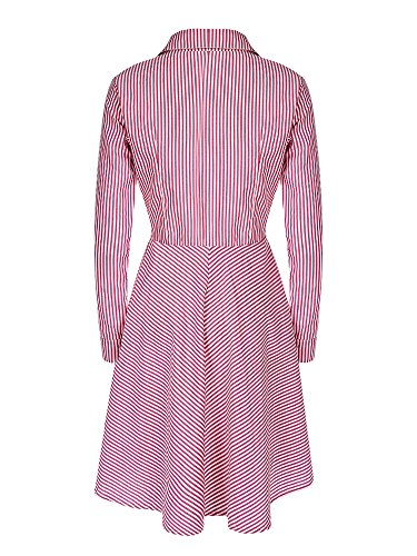Pink Elegant Button Hem Sleeve Women Stripe Shirt Dress Lapel Long Irregular 4wRvq