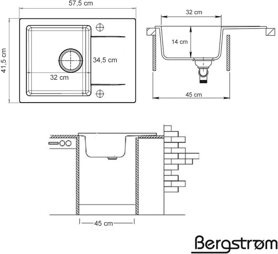 sif/ón Fregadero compuesto de granito Bergstr/öm 580 x 420 cm cocinas montaje base fregadero cuenca del fregadero v/álvula exc/éntrica de giro
