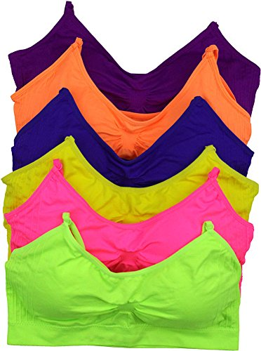 ToBeInStyle Women's Pack of 6 Seamless Stretchy Wire-Free Padded Sports Bra (Spaghetti Strap Bras)