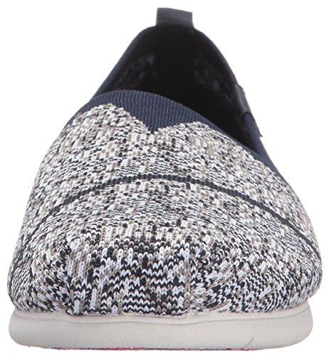 Skechers Plush Lite Custom Built, Sandales Compensées femme Bleu Marine/Gris
