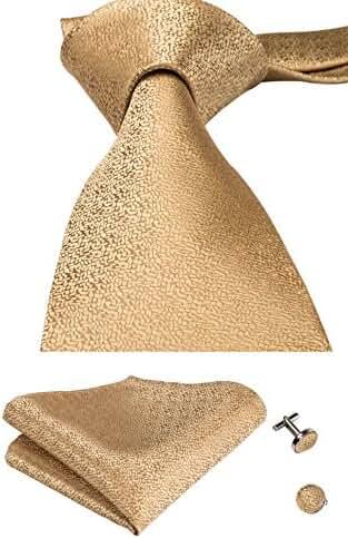 CAOFENVOO Men's Woven Silk Tie Hanky Cufflinks Necktie set Wedding tie