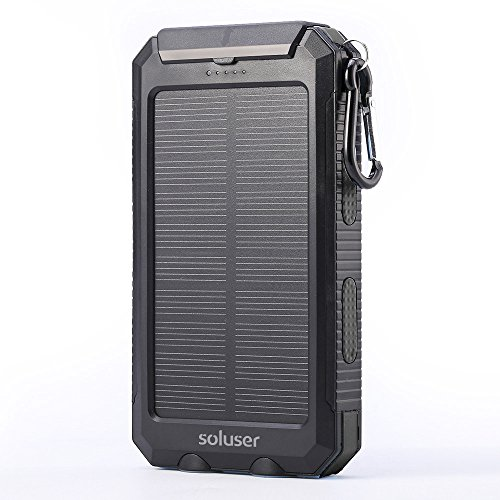 Soluser 10000Mah Portable Solar Charger External Backup Battery Pack Charger  Ip67 Water Resistant 2 Usb Ports Solar Power Bank Phone Charger With 2Led Flashlight  Carabineer And Compass