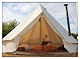 DANCHEL Stand Bell Tent With Top Stove Jacket, Light Khaki, Size 16.7ft