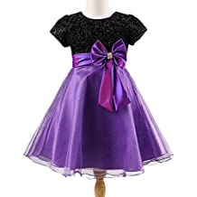 Flower Girls Bow Dress Short Sleeve Wedding Party Pageant Tulle Dress