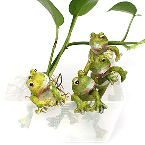 SANGDA Frogs Garden Decoration Frog Figurines,Resin Creative Planter Pot Hanger Decorations Craft Frog Figurines Frogs Sculptures Collectible Figurine Statue Model for Garden Ornaments(4 Pcs)