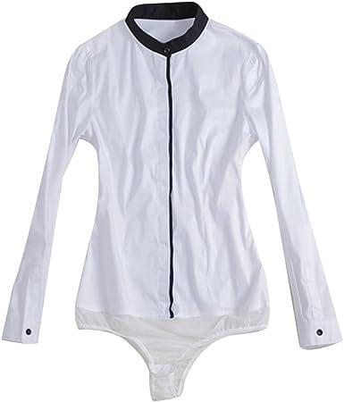 ZAMME Camisa Blanca Formal de la Blusa del Cuerpo del Cuello ...
