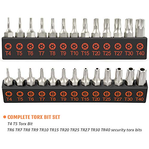 Torx Bit Set, TEKPREM 13-Piece Security Torx Screwdriver Bit Set with 1 inch Long T4 T5 T6 T7 T8 T9 T10 T15 T20 T25 T27 T30 T40 Tamper Resistant Torx Bits Set