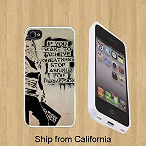 Banksy greatness Custom Case/Cover FOR Apple iPhone 5** WHITE** Rubber Case ( Ship From CA )