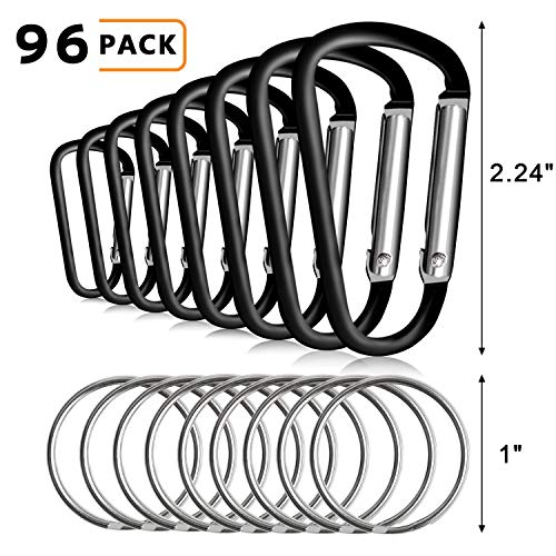 UPINS 48Pcs Big Size Black Aluminum Locking Carabiner and 48Pcs Keyrings,Spring Snap Clips Hook Keychain D Shape Buckle Pack ()