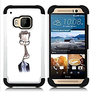 - Steve drawing white alien character/ H??brido 3in1 Deluxe Impreso duro Soft Alto Impacto caja de la armadura Defender - SHIMIN CAO - For HTC ONE M9