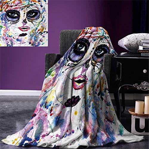 Anniutwo Sugar Skull Travel Throw Blanket Halloween Girl