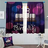 Angoueleven 18th Birthday Home Decoration Thermal Insulated Cartoon Birthday Party Cake with Candles Vibrant Abstract Backdrop Blackout Draperies for Bedroom Purple and Lilac Size:72''x63''