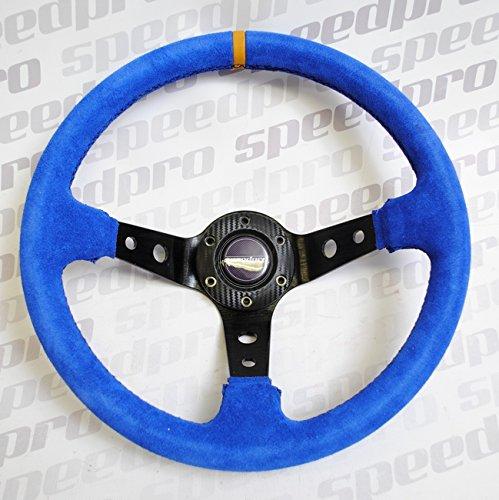 Speedpro Flat Racing Steering Wheel 350MM Suede Leather Deep Dish Steering Wheel (Blue)