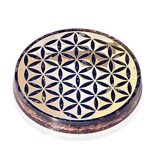 Orgonite Crystal Water Charging Plate with Black Tourmaline Healing Crystals and Flower of Life Orgone Charging Coaster for Spiritual Cleansing and EMF Protection 90mm