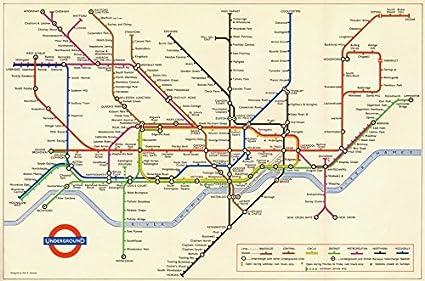 London Underground Map 1965 Old Antique Vintage Map Printed