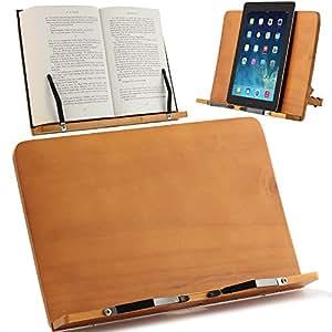 ATRIL PARA LIBROS y Soporte de Tablets | Diseñado para sujetar libros grandes y manuales de cualquier tamaño | Ideal para estudiar, trabajar o sostener libros de cocina | Madera