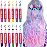 Kalolary Temporary Hair Chalk Set, 12 Colorful Blendable Non-Toxic Washable Hair Chalk Pens Hair Dye for Kids Girls and Adults Party, Halloween, Cosplay, DIY, Birthday Gift