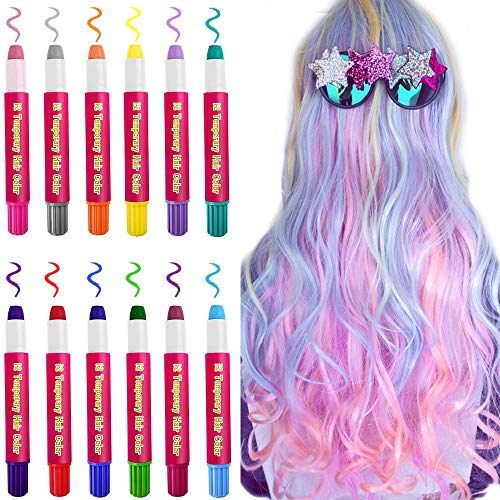 Kalolary Temporary Hair Chalk Set, 12 Colorful Blendable