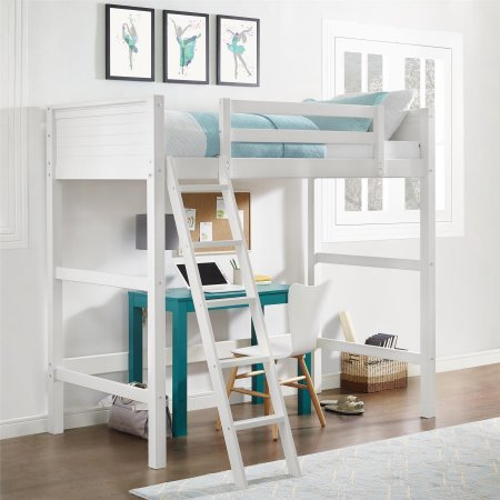 Espresso Support Panel - White Twin Size Wood Loft Bed, Support Slats, Pine Construction, Kid's Room Furniture, Solid Panel Headboard and Footboard Included, Bundle with Our Expert Guide with Tips for Home Arrangement
