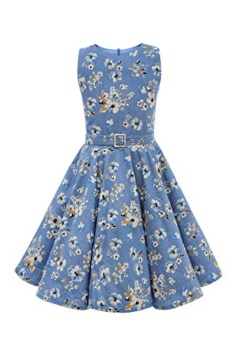 Antique Blue Flower Zunie Little Girls Dress Size 5T 100/% Polyester